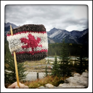 Coffee Sweaters being knit for a coffee shop in Banff.